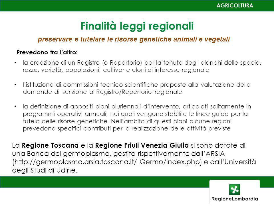 Finalità leggi regionali preservare e tutelare le risorse genetiche animali e vegetali la creazione di un Registro (o Repertorio) per la tenuta degli