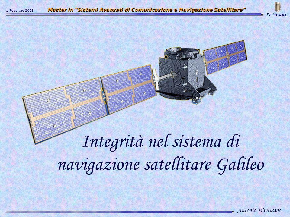 Integrità nel sistema di navigazione satellitare Galileo Antonio DOttavio 1 Febbraio 2006 Master in Sistemi Avanzati di Comunicazione e Navigazione Satellitare Master in Sistemi Avanzati di Comunicazione e Navigazione Satellitare Tor Vergata