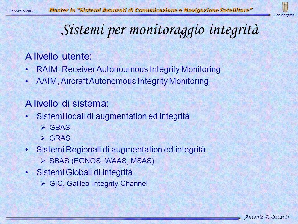 Sistemi per monitoraggio integrità A livello utente: RAIM, Receiver Autonoumous Integrity Monitoring AAIM, Aircraft Autonomous Integrity Monitoring A livello di sistema: Sistemi locali di augmentation ed integrità GBAS GRAS Sistemi Regionali di augmentation ed integrità SBAS (EGNOS, WAAS, MSAS) Sistemi Globali di integrità GIC, Galileo Integrity Channel Antonio DOttavio 1 Febbraio 2006 Master in Sistemi Avanzati di Comunicazione e Navigazione Satellitare Master in Sistemi Avanzati di Comunicazione e Navigazione Satellitare Tor Vergata
