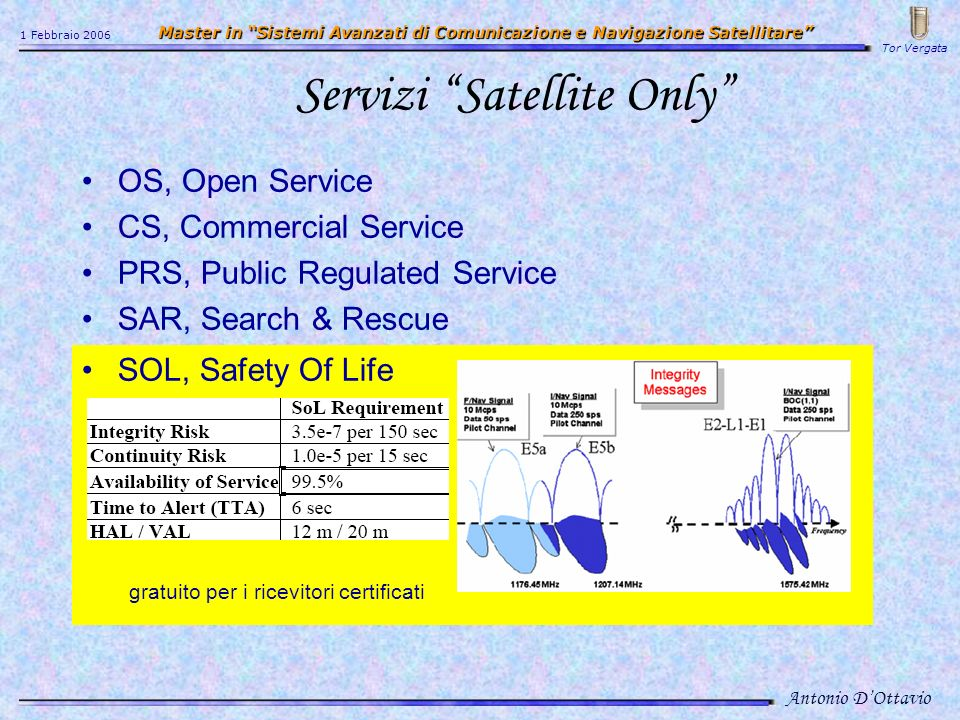 Servizi Satellite Only OS, Open Service CS, Commercial Service PRS, Public Regulated Service SAR, Search & Rescue SOL, Safety Of Life gratuito per i r