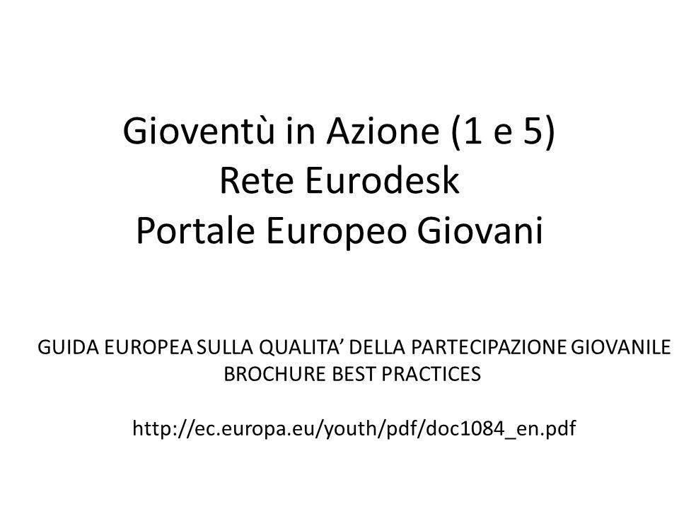 Gioventù in Azione (1 e 5) Rete Eurodesk Portale Europeo Giovani GUIDA EUROPEA SULLA QUALITA DELLA PARTECIPAZIONE GIOVANILE BROCHURE BEST PRACTICES ht