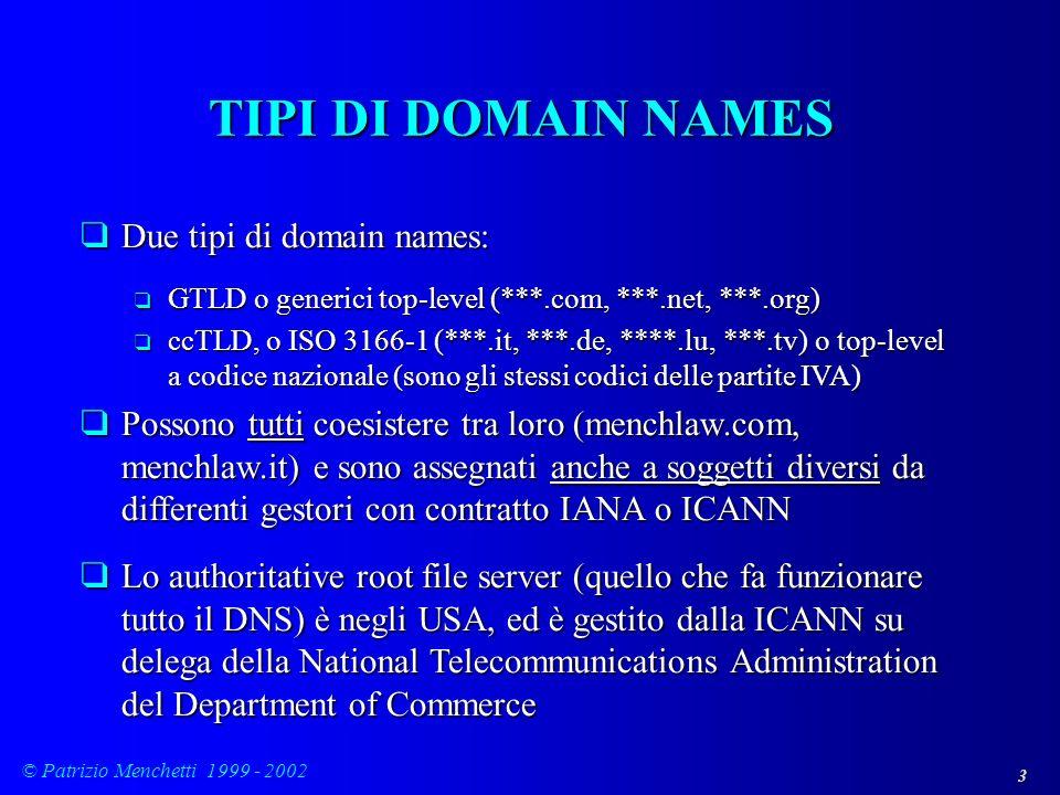 3 © Patrizio Menchetti 1999 - 2002 TIPI DI DOMAIN NAMES qDue tipi di domain names: q GTLD o generici top-level (***.com, ***.net, ***.org) q ccTLD, o