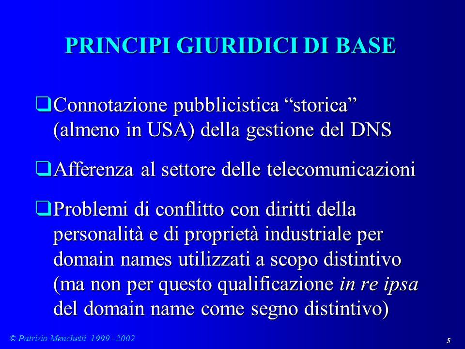 5 © Patrizio Menchetti 1999 - 2002 PRINCIPI GIURIDICI DI BASE qConnotazione pubblicistica storica (almeno in USA) della gestione del DNS qAfferenza al
