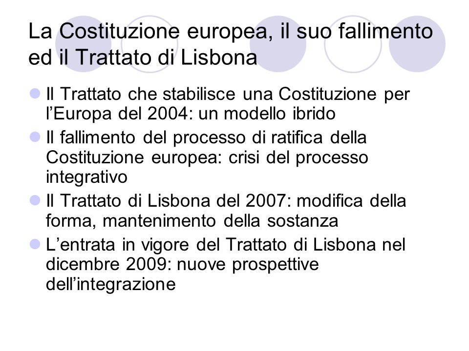 La Costituzione europea, il suo fallimento ed il Trattato di Lisbona Il Trattato che stabilisce una Costituzione per lEuropa del 2004: un modello ibri