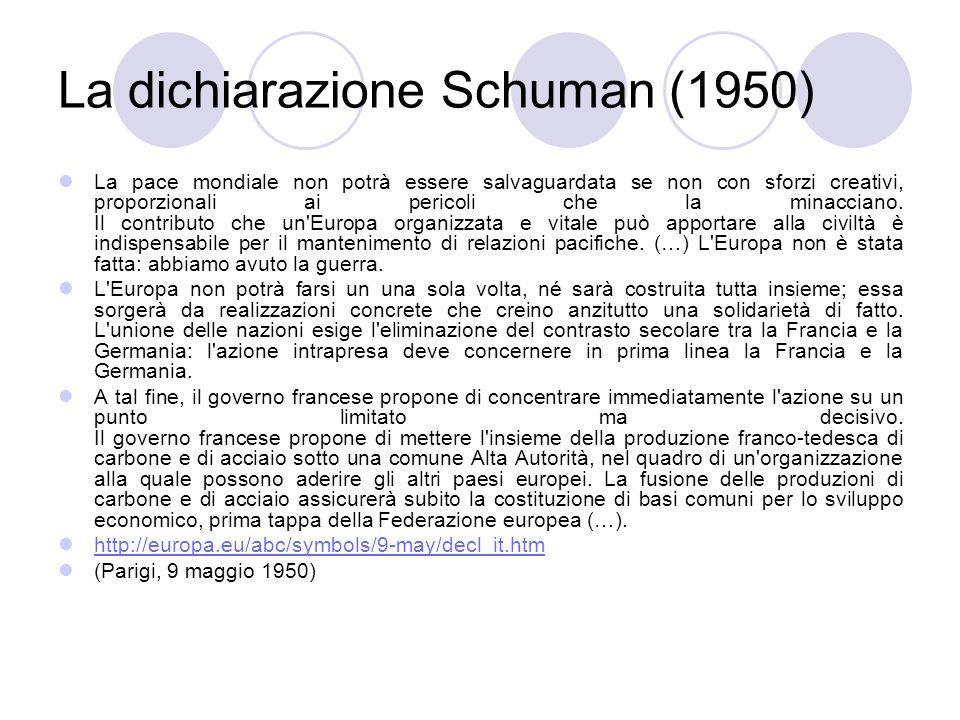 La dichiarazione Schuman (1950) La pace mondiale non potrà essere salvaguardata se non con sforzi creativi, proporzionali ai pericoli che la minaccian