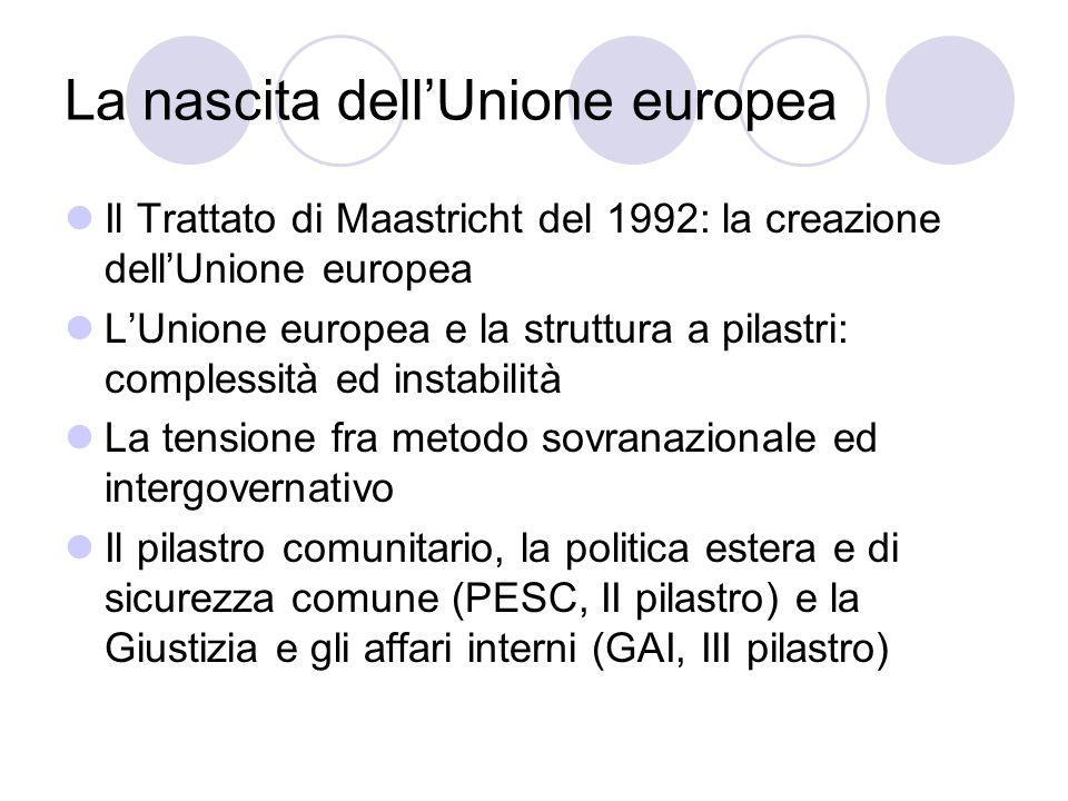 La nascita dellUnione europea Il Trattato di Maastricht del 1992: la creazione dellUnione europea LUnione europea e la struttura a pilastri: complessi