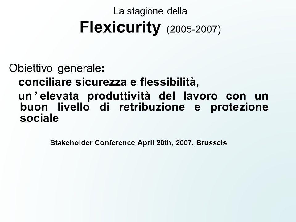 La stagione della Flexicurity (2005-2007) Obiettivo generale: conciliare sicurezza e flessibilità, unelevata produttività del lavoro con un buon livel