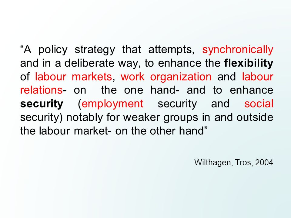 A policy strategy that attempts, synchronically and in a deliberate way, to enhance the flexibility of labour markets, work organization and labour re