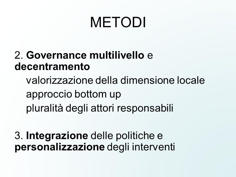 METODI 2. Governance multilivello e decentramento valorizzazione della dimensione locale approccio bottom up pluralità degli attori responsabili 3. In