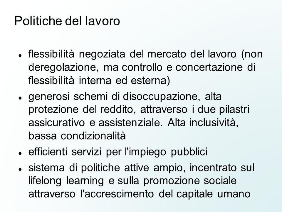 Politiche del lavoro flessibilità negoziata del mercato del lavoro (non deregolazione, ma controllo e concertazione di flessibilità interna ed esterna