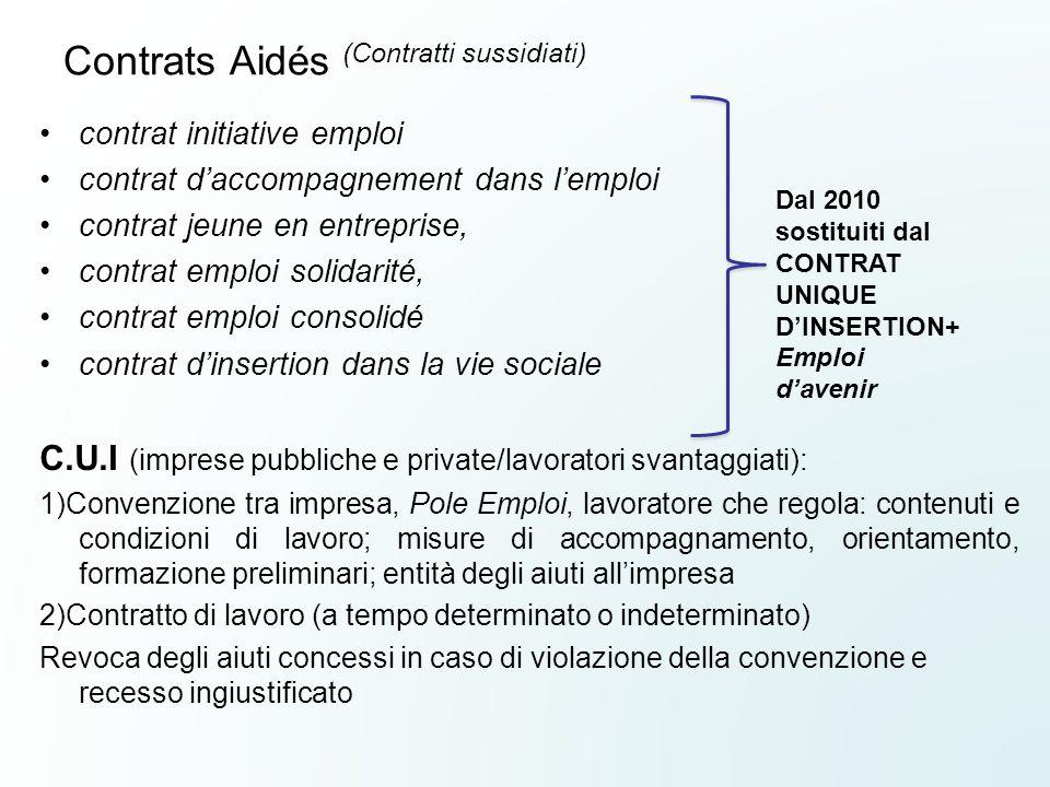 Contrats Aidés (Contratti sussidiati) contrat initiative emploi contrat daccompagnement dans lemploi contrat jeune en entreprise, contrat emploi solid