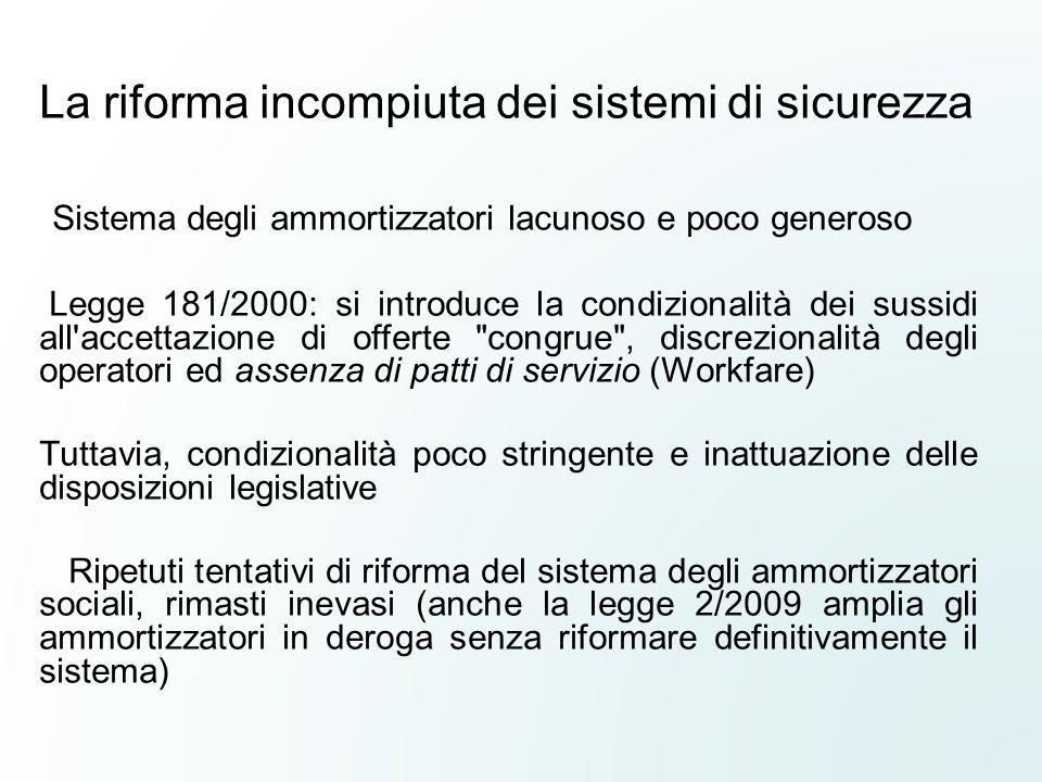 La riforma incompiuta dei sistemi di sicurezza Sistema degli ammortizzatori lacunoso e poco generoso Legge 181/2000: si introduce la condizionalità de