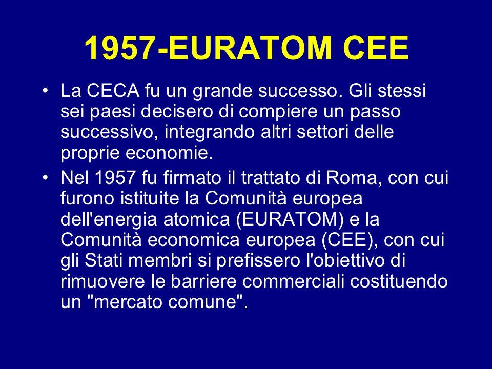 1957-EURATOM CEE La CECA fu un grande successo. Gli stessi sei paesi decisero di compiere un passo successivo, integrando altri settori delle proprie