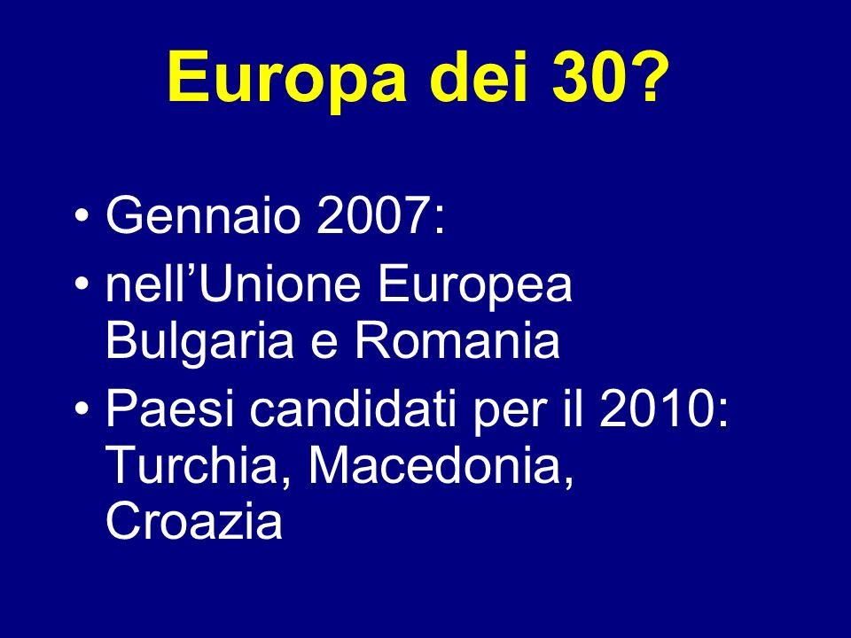 Europa dei 30? Gennaio 2007: nellUnione Europea Bulgaria e Romania Paesi candidati per il 2010: Turchia, Macedonia, Croazia
