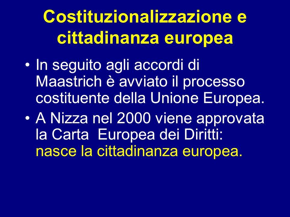 Costituzionalizzazione e cittadinanza europea In seguito agli accordi di Maastrich è avviato il processo costituente della Unione Europea. A Nizza nel