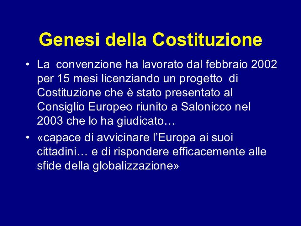 Genesi della Costituzione La convenzione ha lavorato dal febbraio 2002 per 15 mesi licenziando un progetto di Costituzione che è stato presentato al C