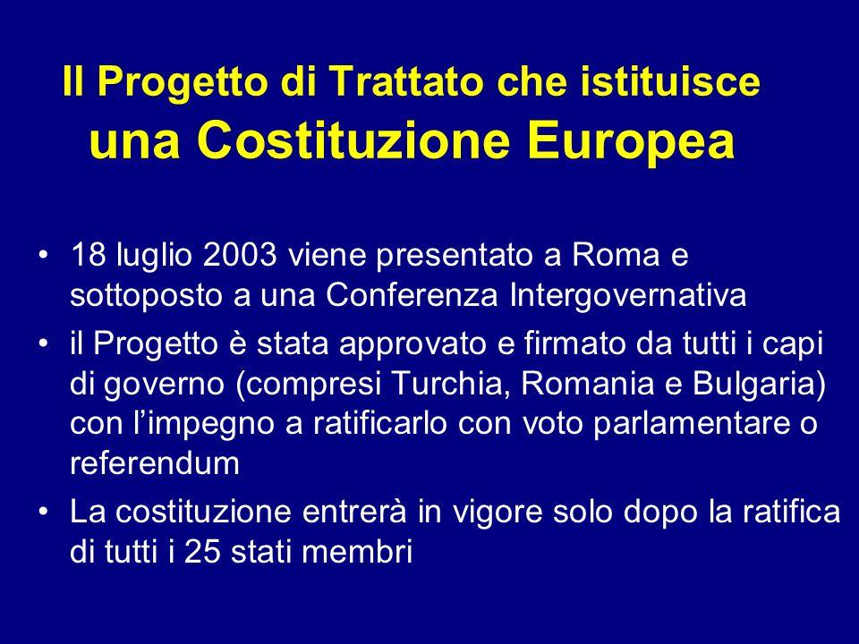 Il Progetto di Trattato che istituisce una Costituzione Europea 18 luglio 2003 viene presentato a Roma e sottoposto a una Conferenza Intergovernativa
