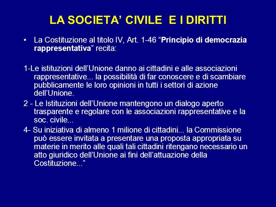 LA SOCIETA CIVILE E I DIRITTI La Costituzione al titolo IV, Art. 1-46 Principio di democrazia rappresentativa recita: 1-Le istituzioni dellUnione dann