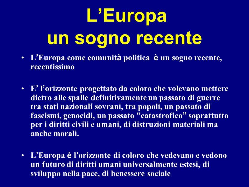 LEuropa un sogno recente L Europa come comunit à politica è un sogno recente, recentissimo E l orizzonte progettato da coloro che volevano mettere die