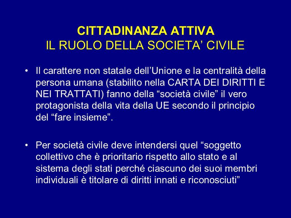 CITTADINANZA ATTIVA IL RUOLO DELLA SOCIETA CIVILE Il carattere non statale dellUnione e la centralità della persona umana (stabilito nella CARTA DEI D