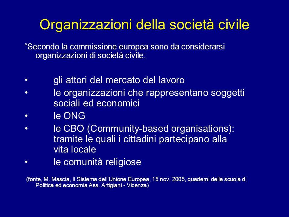 Organizzazioni della società civile Secondo la commissione europea sono da considerarsi organizzazioni di società civile: gli attori del mercato del l