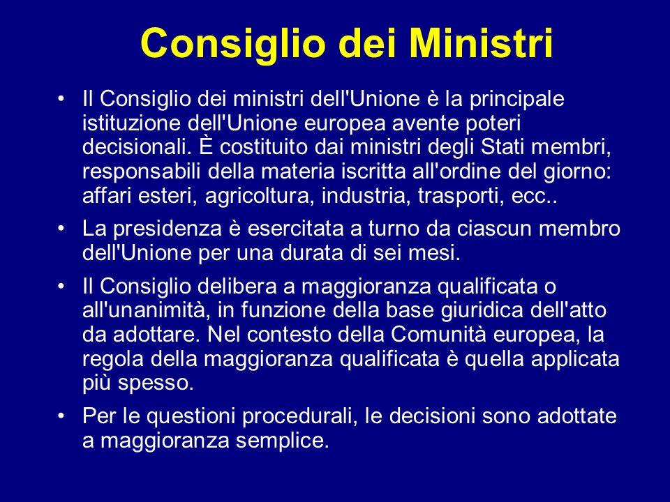 Consiglio dei Ministri Il Consiglio dei ministri dell'Unione è la principale istituzione dell'Unione europea avente poteri decisionali. È costituito d