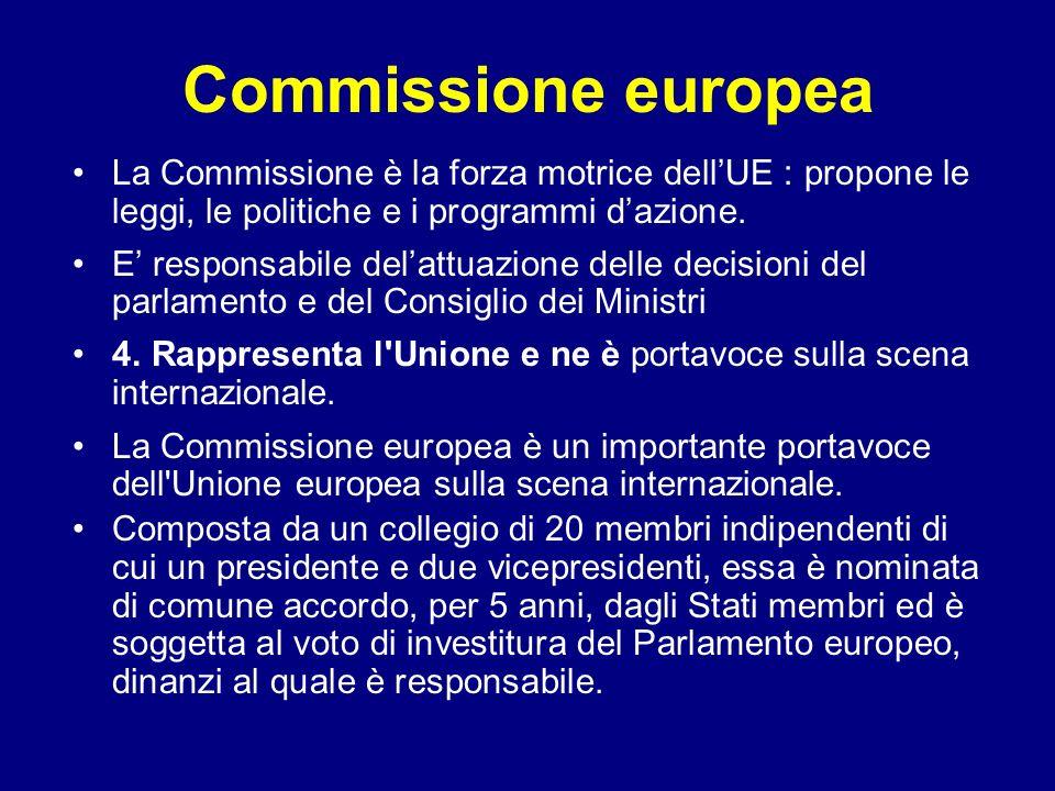 Commissione europea La Commissione è la forza motrice dellUE : propone le leggi, le politiche e i programmi dazione. E responsabile delattuazione dell