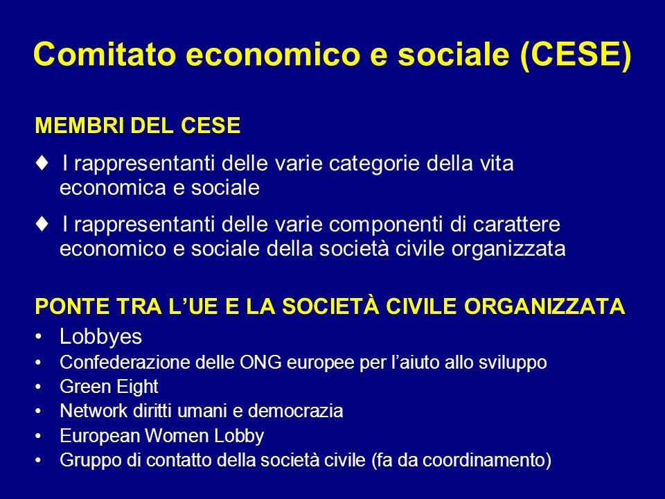 Comitato economico e sociale (CESE) MEMBRI DEL CESE I rappresentanti delle varie categorie della vita economica e sociale I rappresentanti delle varie