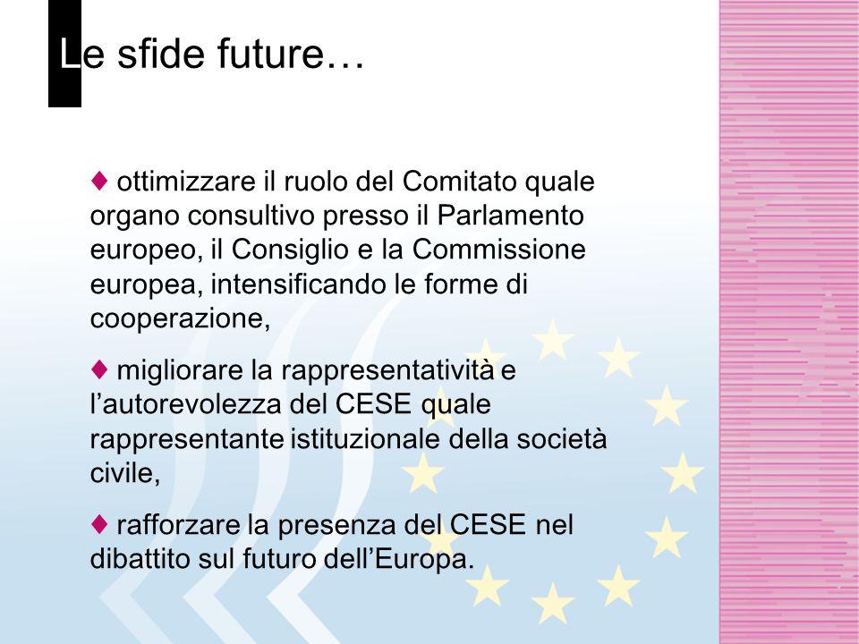 Le sfide future… ottimizzare il ruolo del Comitato quale organo consultivo presso il Parlamento europeo, il Consiglio e la Commissione europea, intens