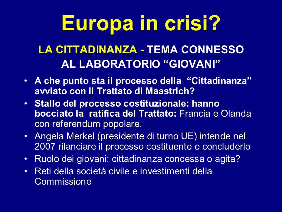 Europa in crisi? LA CITTADINANZA - TEMA CONNESSO AL LABORATORIO GIOVANI A che punto sta il processo della Cittadinanza avviato con il Trattato di Maas