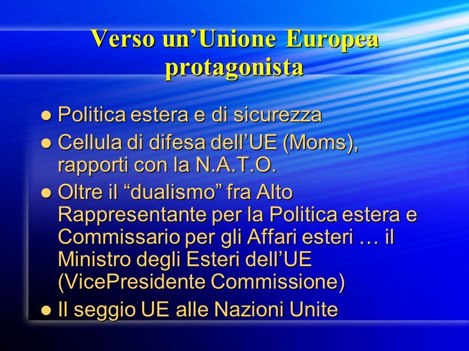 Verso unUnione Europea protagonista Politica estera e di sicurezza Politica estera e di sicurezza Cellula di difesa dellUE (Moms), rapporti con la N.A