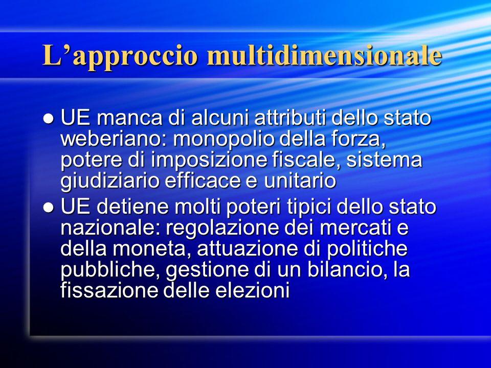 Lapproccio multidimensionale UE manca di alcuni attributi dello stato weberiano: monopolio della forza, potere di imposizione fiscale, sistema giudizi