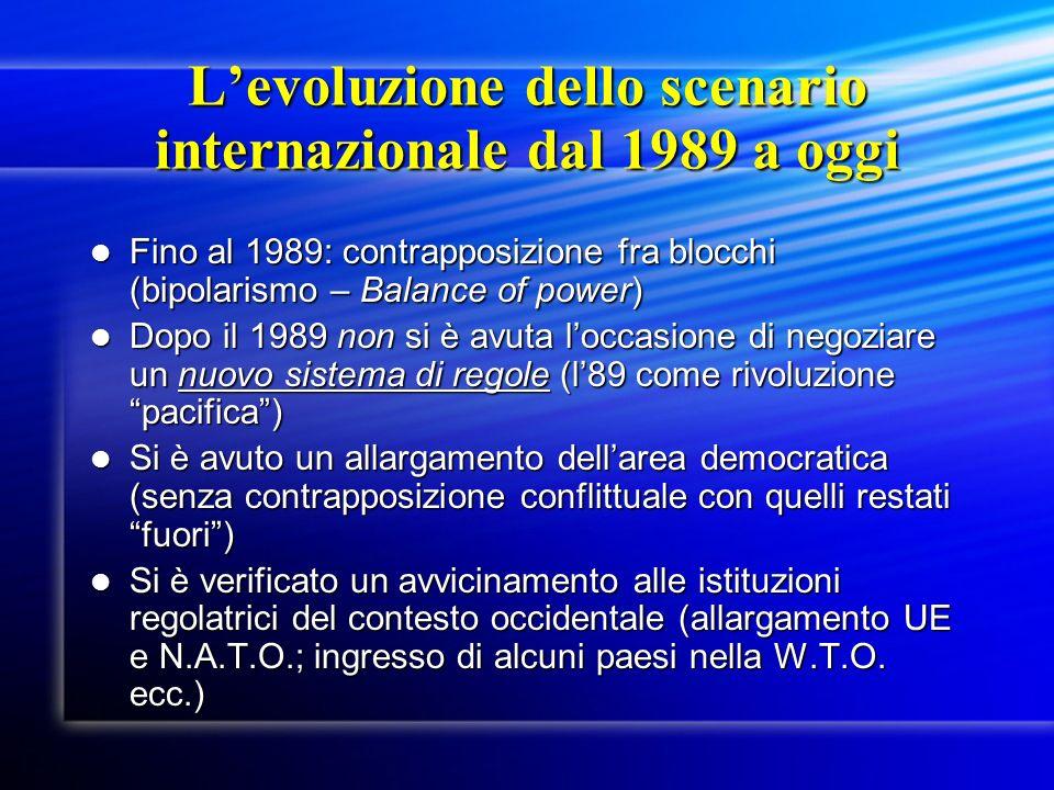 Levoluzione dello scenario internazionale dal 1989 a oggi Fino al 1989: contrapposizione fra blocchi (bipolarismo – Balance of power) Fino al 1989: co
