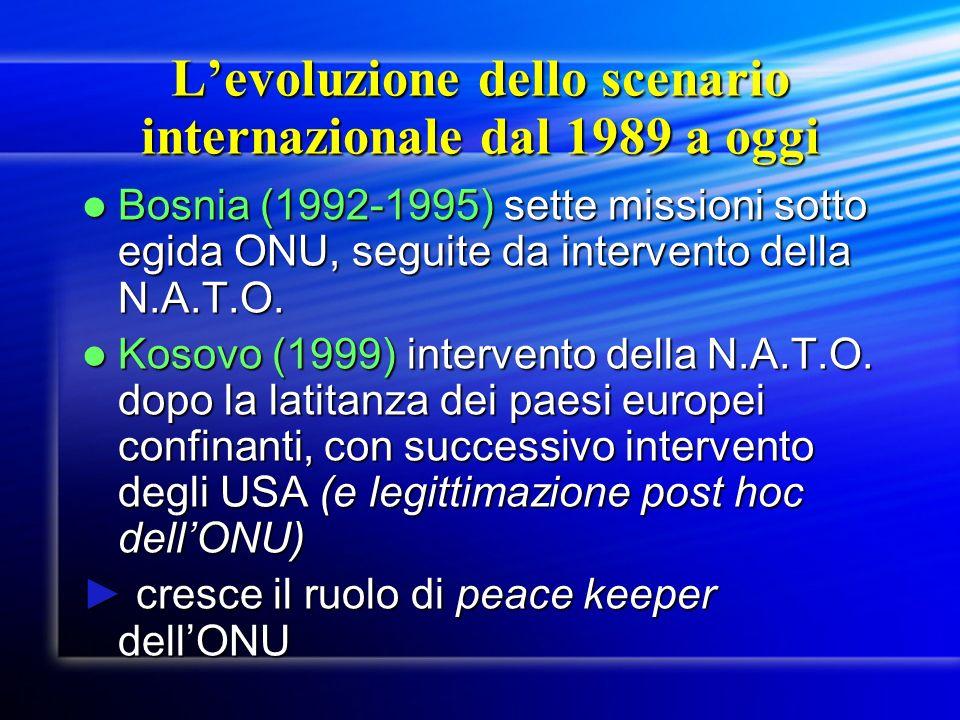 Levoluzione dello scenario internazionale dal 1989 a oggi Bosnia (1992-1995) sette missioni sotto egida ONU, seguite da intervento della N.A.T.O. Bosn