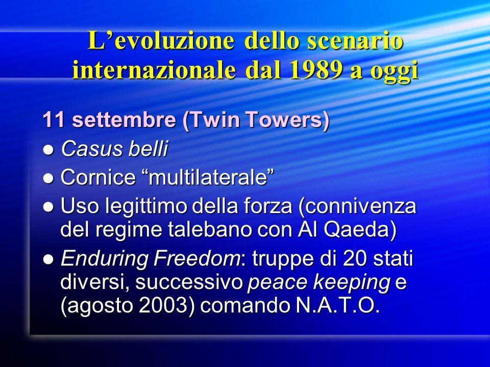 Levoluzione dello scenario internazionale dal 1989 a oggi 11 settembre (Twin Towers) Casus belli Casus belli Cornice multilaterale Cornice multilatera