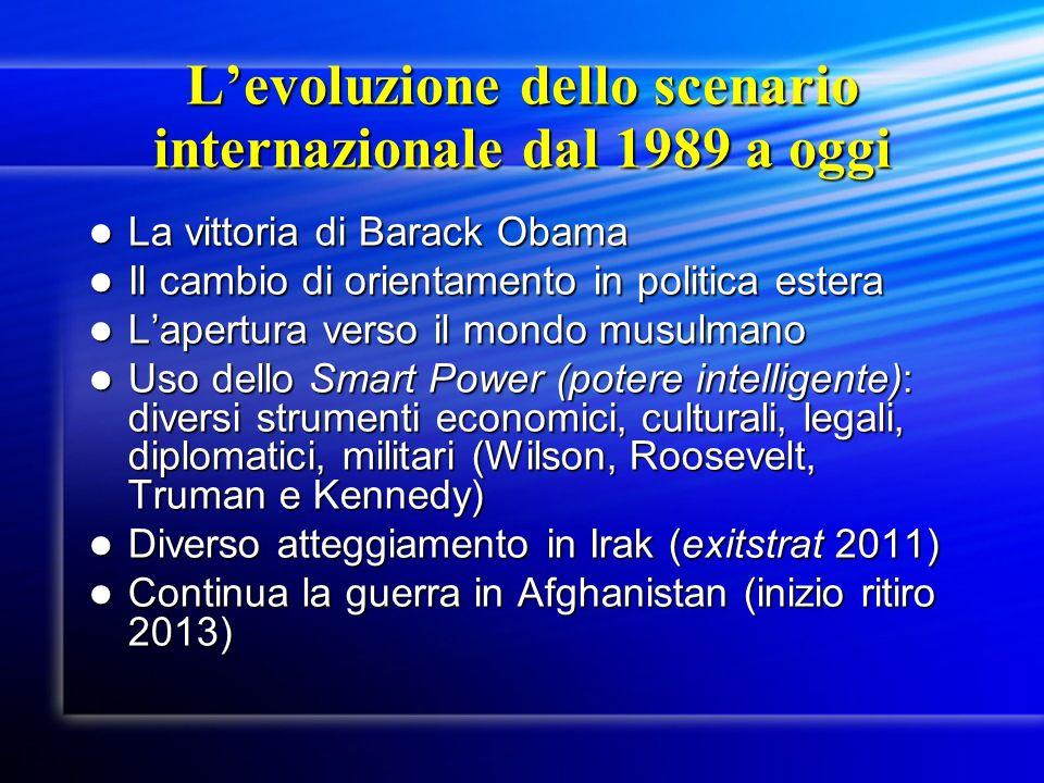 Levoluzione dello scenario internazionale dal 1989 a oggi La vittoria di Barack Obama La vittoria di Barack Obama Il cambio di orientamento in politic