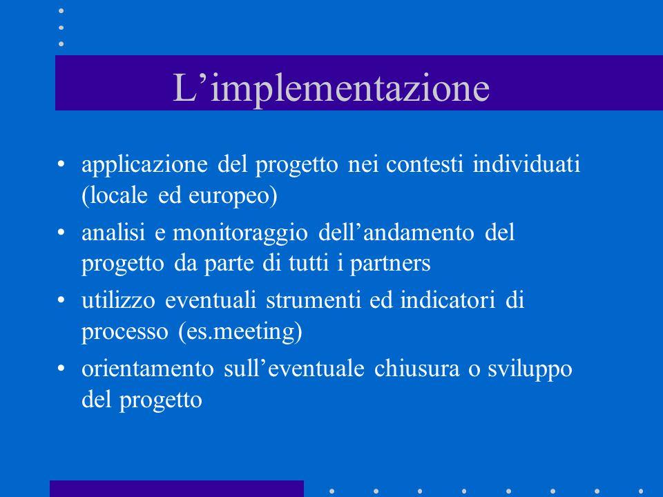 Limplementazione applicazione del progetto nei contesti individuati (locale ed europeo) analisi e monitoraggio dellandamento del progetto da parte di