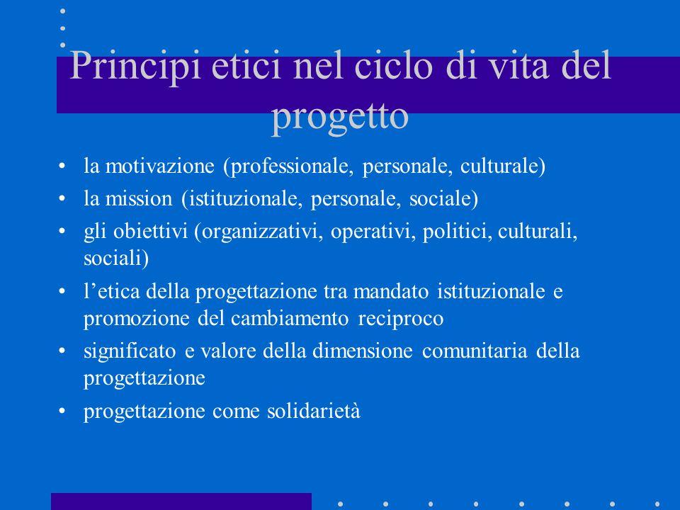 Principi etici nel ciclo di vita del progetto la motivazione (professionale, personale, culturale) la mission (istituzionale, personale, sociale) gli