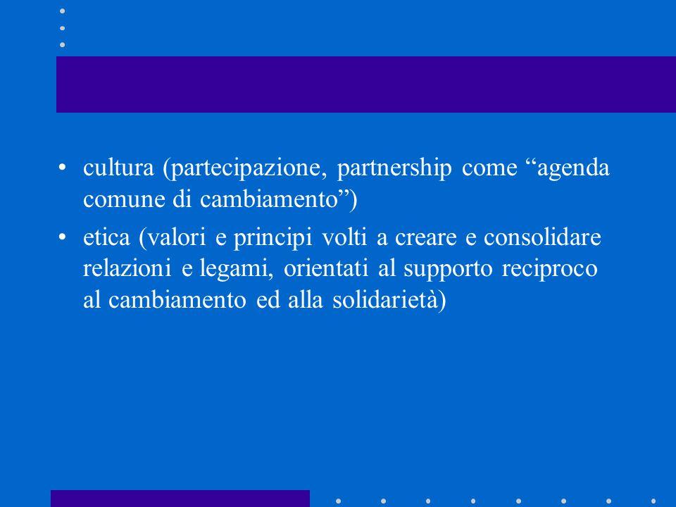 cultura (partecipazione, partnership come agenda comune di cambiamento) etica (valori e principi volti a creare e consolidare relazioni e legami, orie