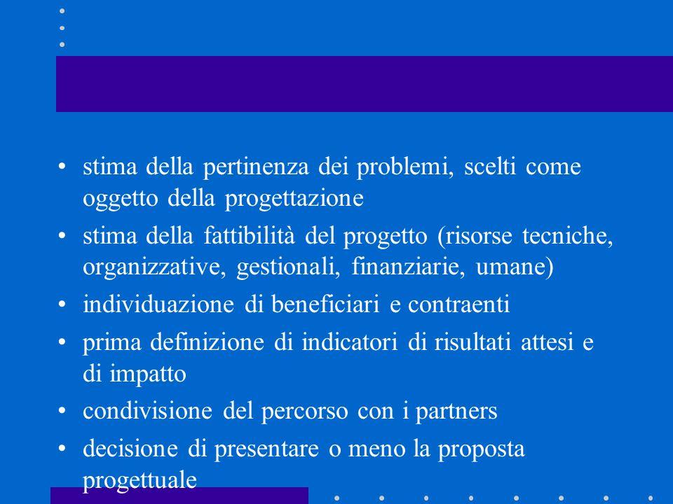 stima della pertinenza dei problemi, scelti come oggetto della progettazione stima della fattibilità del progetto (risorse tecniche, organizzative, ge