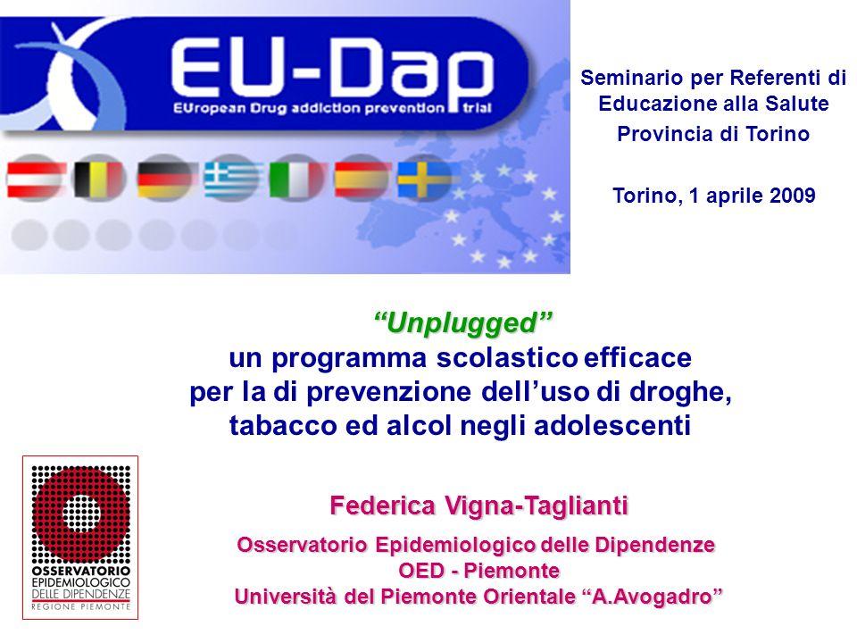 Seminario per Referenti di Educazione alla Salute Provincia di Torino Torino, 1 aprile 2009 kKkK Federica Vigna-Taglianti Osservatorio Epidemiologico