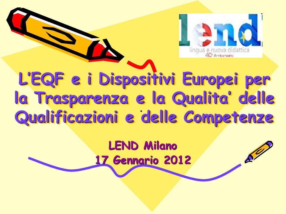 LEQF e i Dispositivi Europei per la Trasparenza e la Qualita delle Qualificazioni e delle Competenze LEND Milano 17 Gennario 2012..