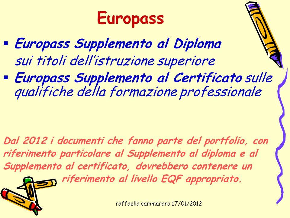 raffaella cammarano 17/01/2012 Europass Europass Supplemento al Diploma sui titoli dellistruzione superiore Europass Supplemento al Certificato sulle