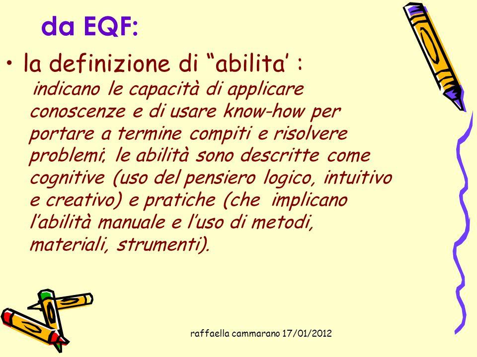 raffaella cammarano 17/01/2012 da EQF: la definizione di abilita : indicano le capacità di applicare conoscenze e di usare know-how per portare a term