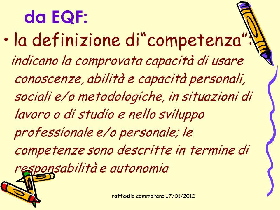 raffaella cammarano 17/01/2012 da EQF: la definizione dicompetenza: indicano la comprovata capacità di usare conoscenze, abilità e capacità personali,