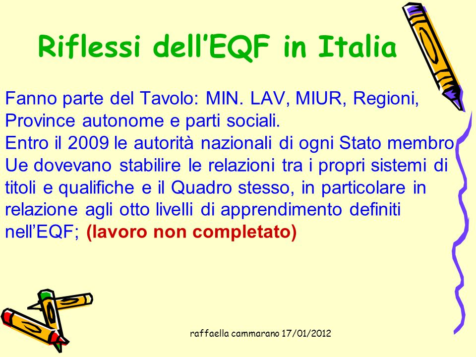 raffaella cammarano 17/01/2012 Riflessi dellEQF in Italia Fanno parte del Tavolo: MIN. LAV, MIUR, Regioni, Province autonome e parti sociali. Entro il