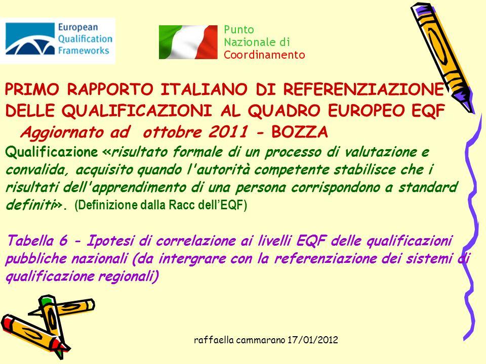 raffaella cammarano 17/01/2012 PRIMO RAPPORTO ITALIANO DI REFERENZIAZIONE DELLE QUALIFICAZIONI AL QUADRO EUROPEO EQF Aggiornato ad ottobre 2011 - BOZZ