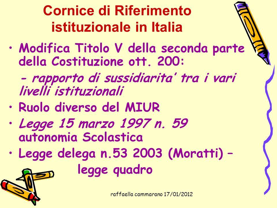 raffaella cammarano 17/01/2012 Cornice di Riferimento istituzionale in Italia Modifica Titolo V della seconda parte della Costituzione ott. 200: - rap