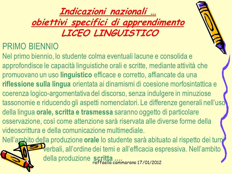 raffaella cammarano 17/01/2012 Indicazioni nazionali … obiettivi specifici di apprendimento LICEO LINGUISTICO PRIMO BIENNIO Nel primo biennio, lo stud