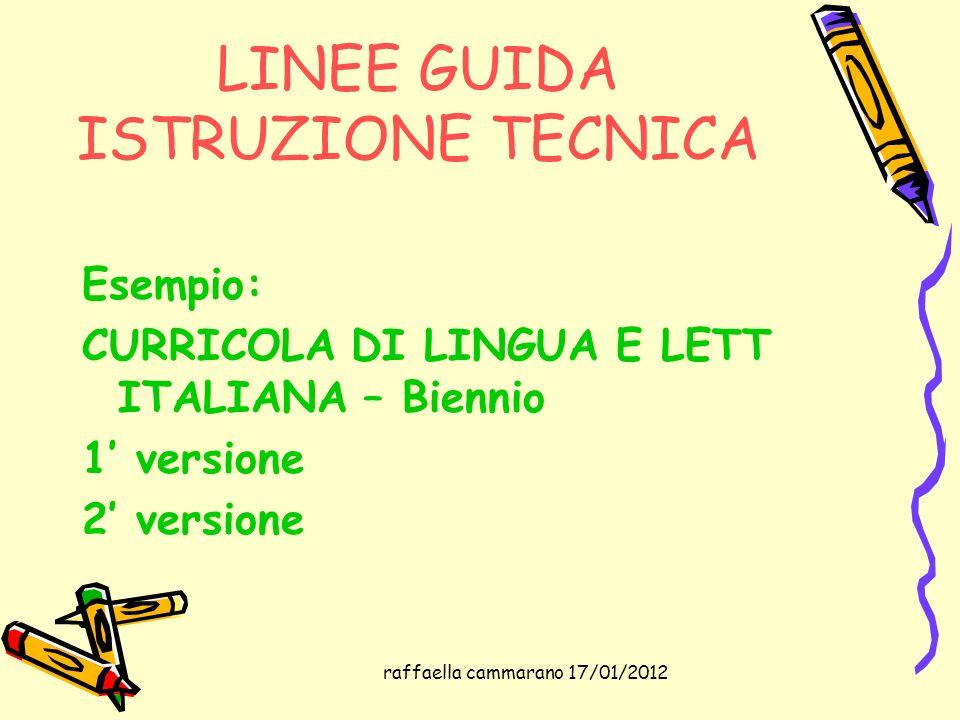 raffaella cammarano 17/01/2012 LINEE GUIDA ISTRUZIONE TECNICA Esempio: CURRICOLA DI LINGUA E LETT ITALIANA – Biennio 1 versione 2 versione